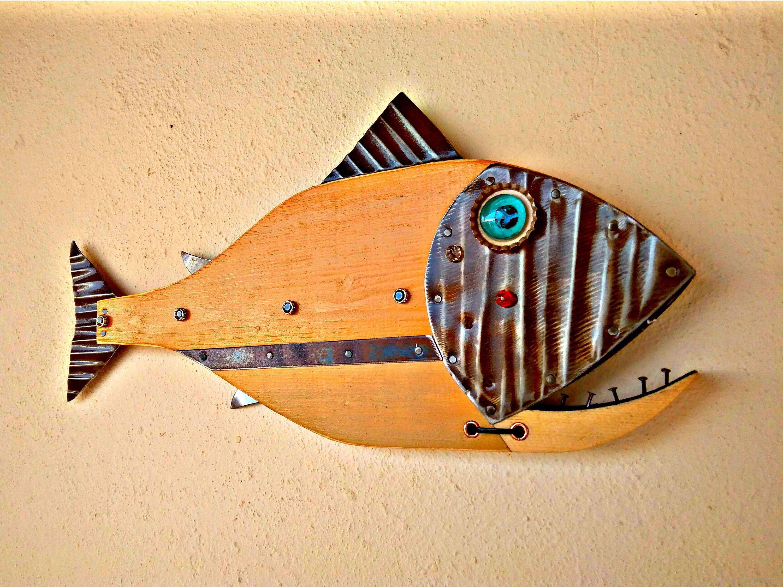 Fish art, Wall Art, Sculpture, Handmade, Steampunk, Art Decor ...