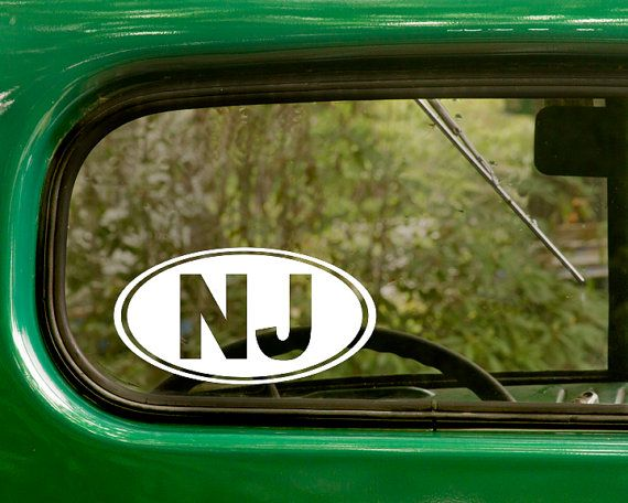 Oval nj decal car decal oval new jersey by stickeranddecalmafia