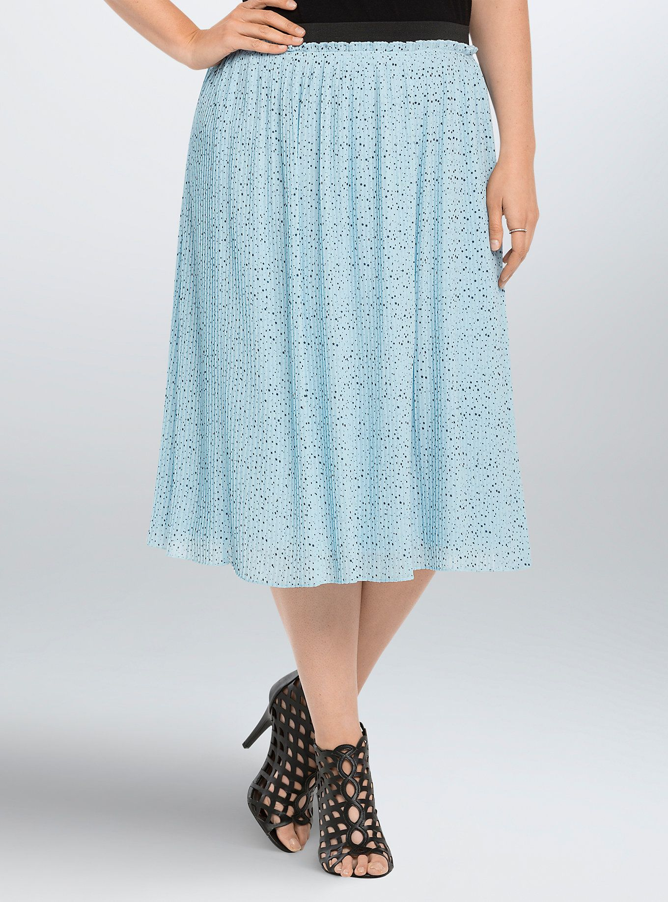 7658df09f4 Star Print Pleated Chiffon Midi Skirt | Disneybounding | Midi Skirt ...