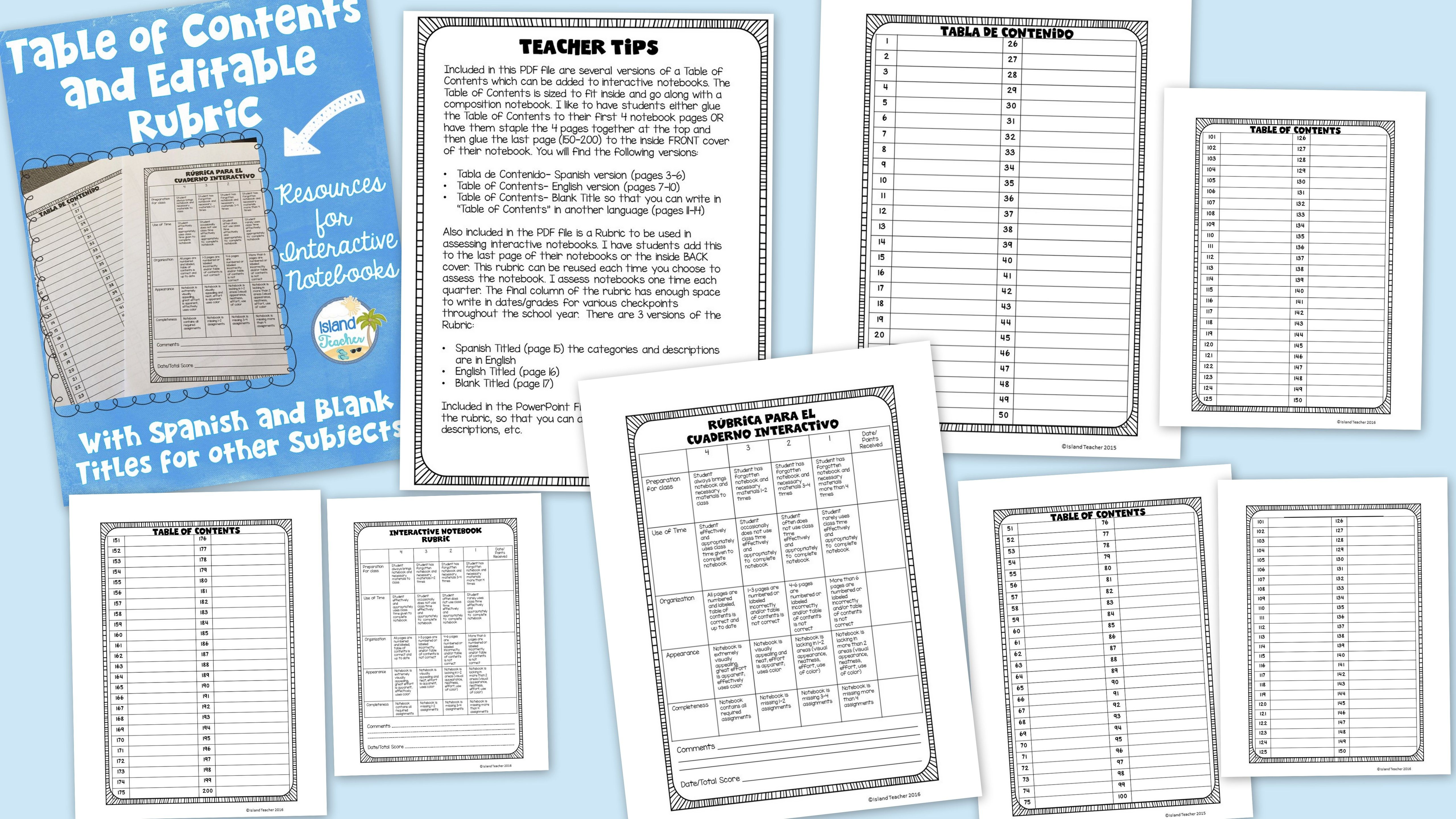 Blank Table Of Contents Worksheet