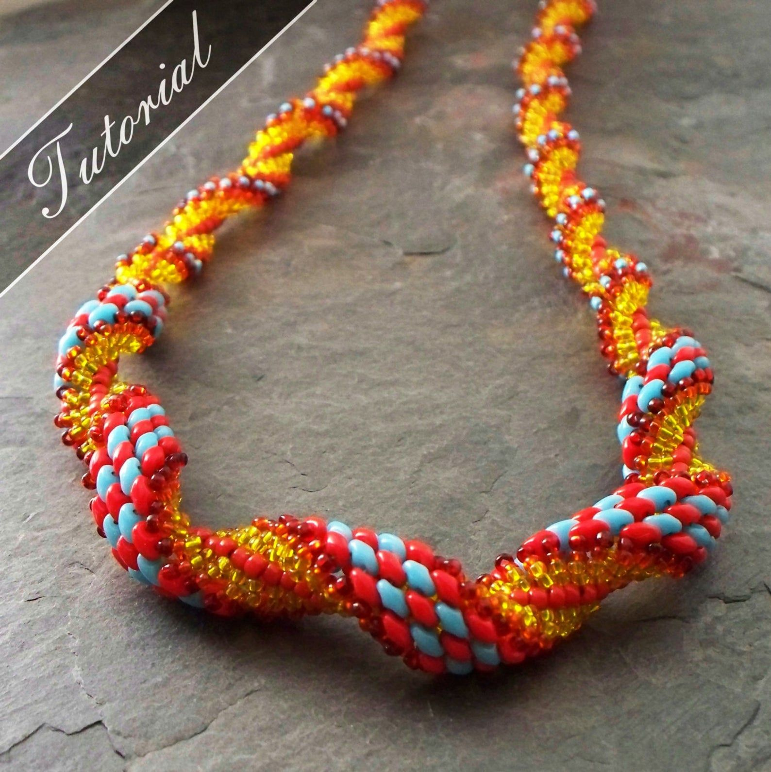 Super Duo Spiral Stitch Necklace Pattern  Bead Weaving Tutorial  Step By Step With Detailed