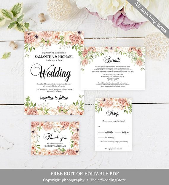Peach And Cream Wedding Invitation Set Template Printable Floral