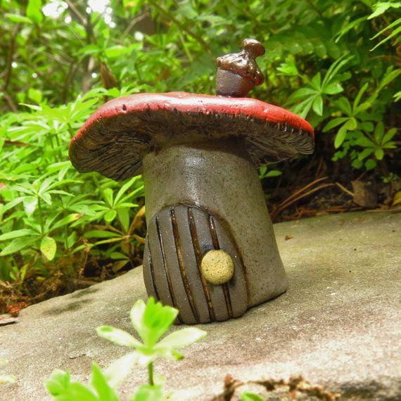 Gnome Garden: Pottery Mushroom House, Fairy House Woodland Garden