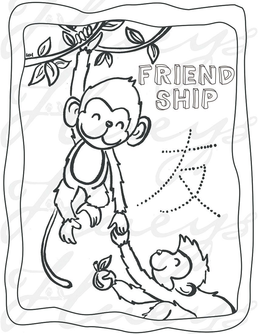Monkey coloring page activity Chinese New Year Birthday Party