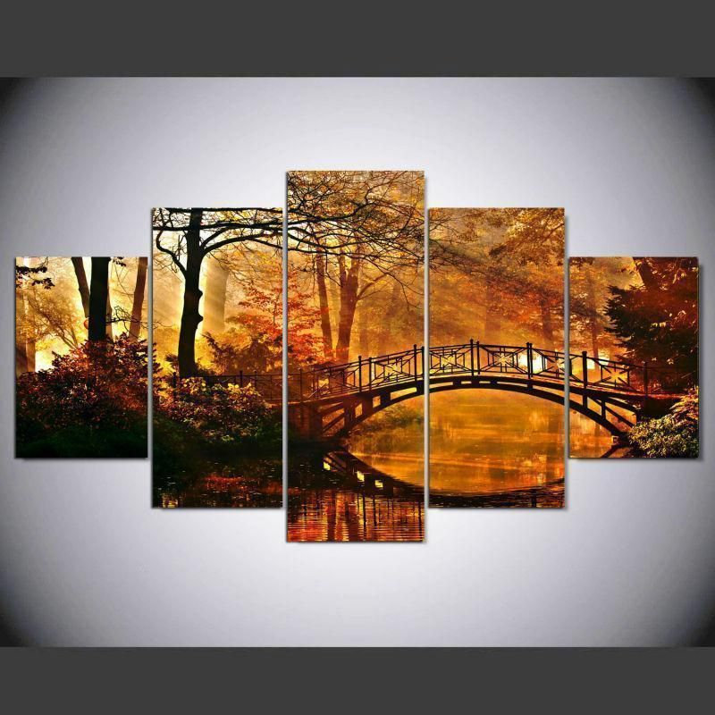 Autumn Scenery Modernative Nature Canvas Wall Art #autumnscenery