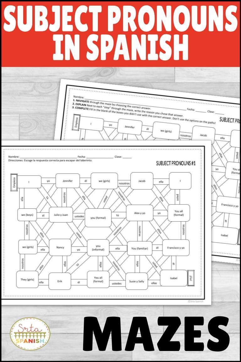 Spanish Subject Pronouns Maze Worksheet Practice Activity With Digital Option Spanish Subject Pronouns Spanish Lesson Plans Pronoun Activities [ 1152 x 768 Pixel ]
