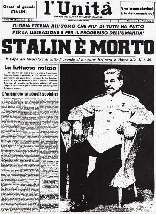 Stalin è Morto L Unità Historical Newspaper History Lessons History