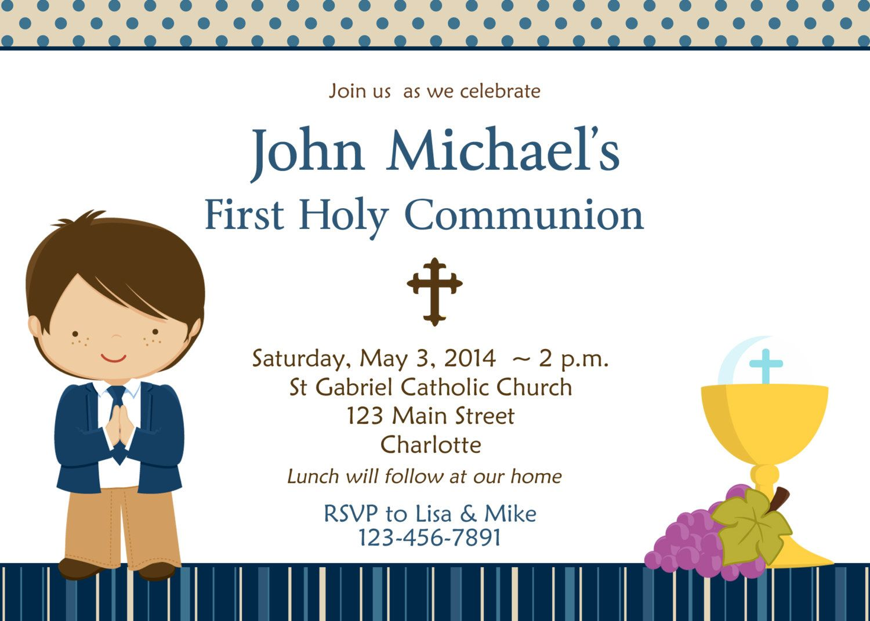 First Communion Invitations For Boys Primera Comunion