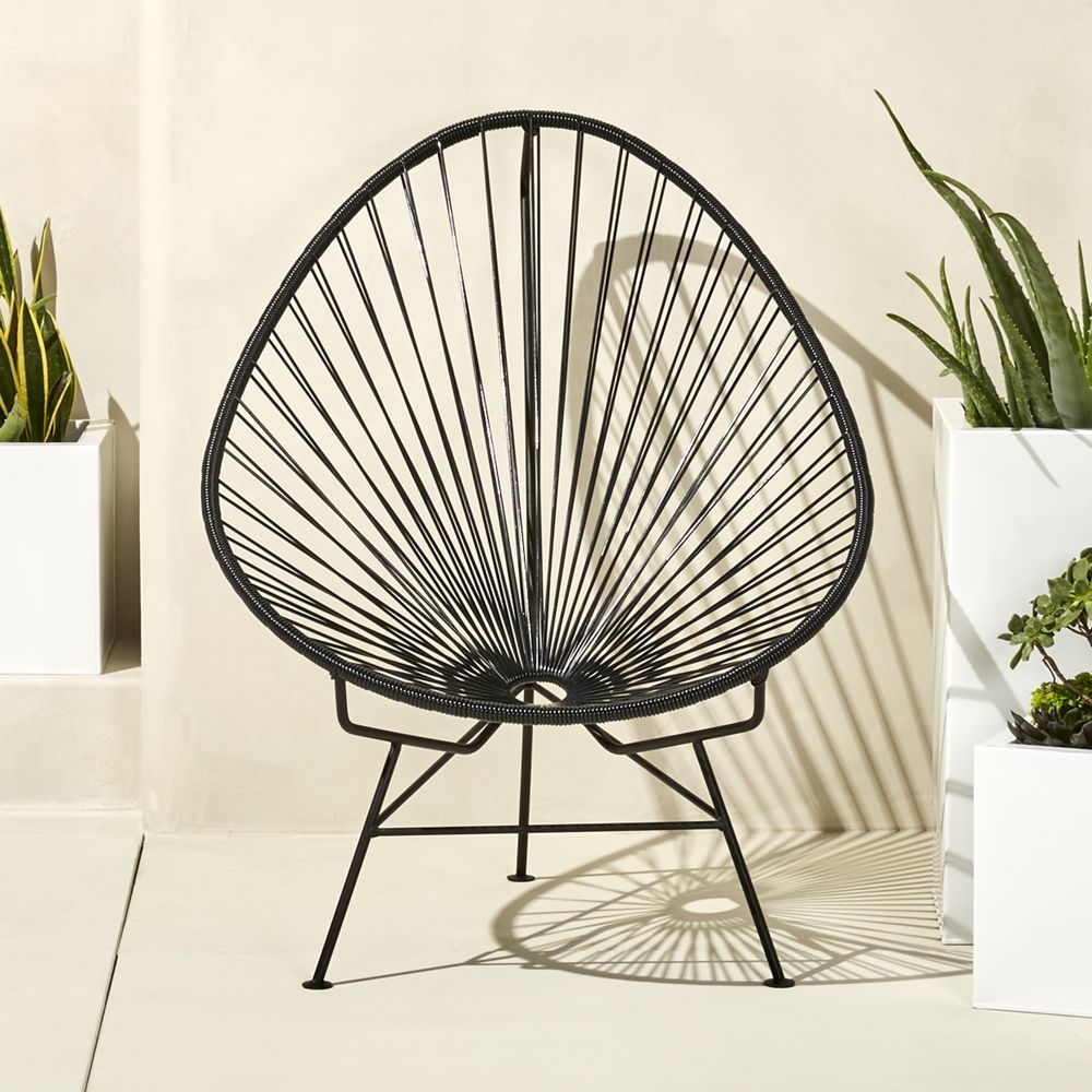 Acapulco chair cb2 - Acapulco Black Egg Outdoor Chair