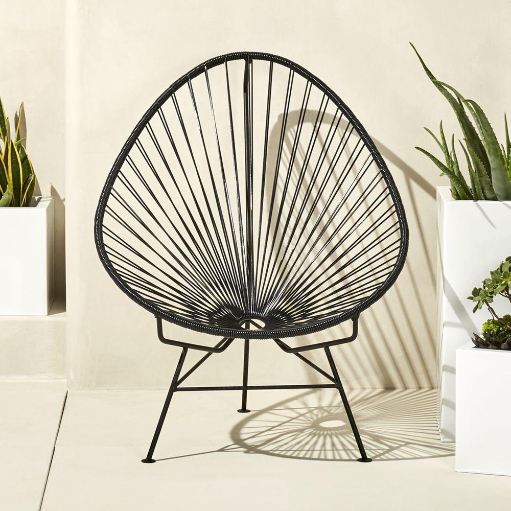 Acapulco chair cb2 - Acapulco Black Egg Outdoor Chair