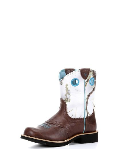 $74.95 Country Outfitter-Kid's Fatbaby Cowgirl Boot - Brown Crinkle/Snowflake