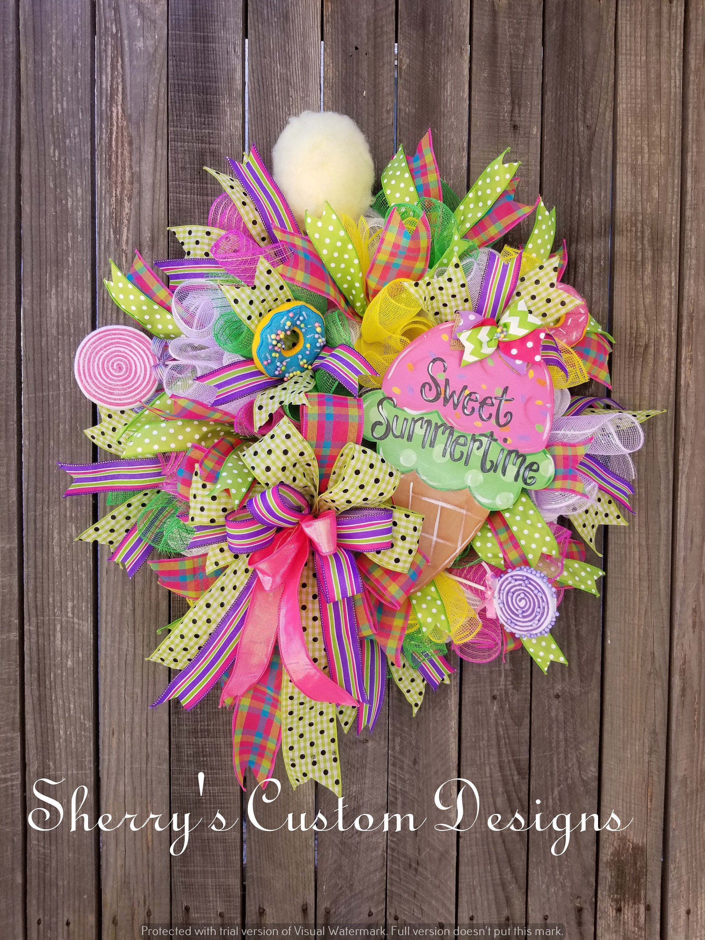 Photo of Summer wreath, sweet summer time, front door wreath, wreath for the front door, candy decor, welcome wreath, mesh wreath, candy wreath