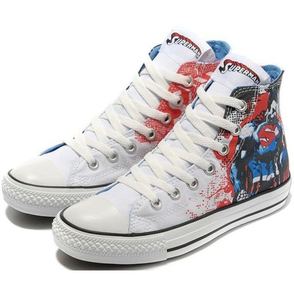 bb8255e7fa0 Converse Shoes White Superhero DC Comics Classic High
