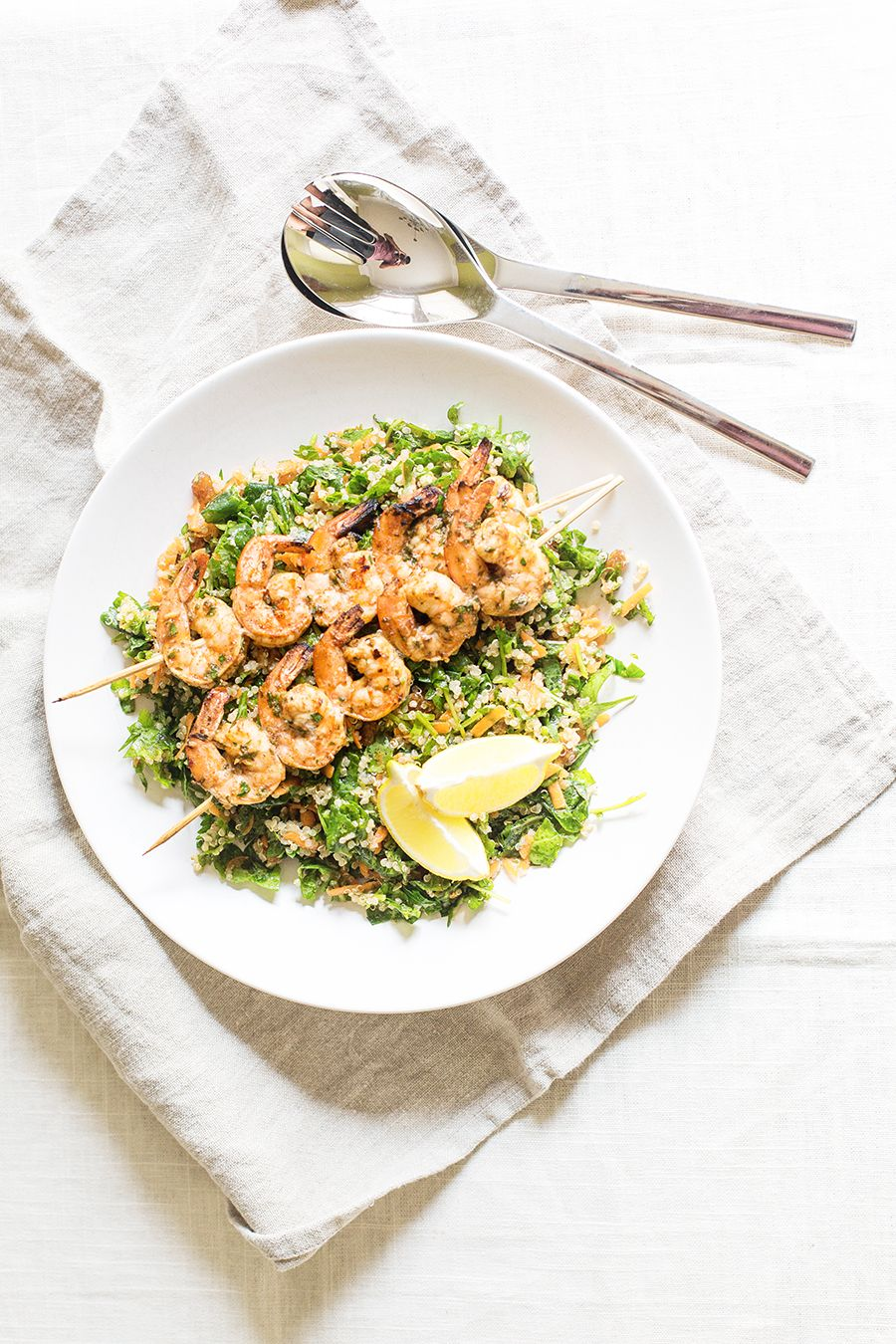moroccan grilled shrimp and kale quinoa salad