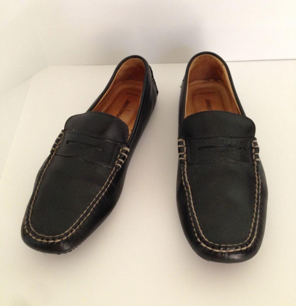 Johnston & Murphy Black Penny Loafer Driving Moccasins Driver Shoes Mens 9  M #JohnstonMurphy #