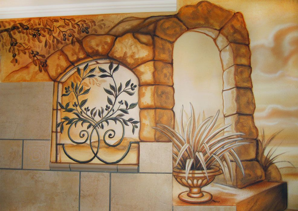 Die Wand über der Badewanne dient als Fenster zum Horizont - wandgestaltung gothic