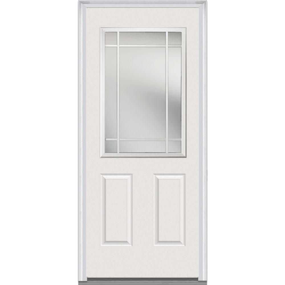 Milliken Millwork 37 5 In X 81 75 In Classic Clear Glass 1 4 Lite 8 Panel Primed White Fiberglass Smooth Exterior Door Z000558r At The Living Room Exter