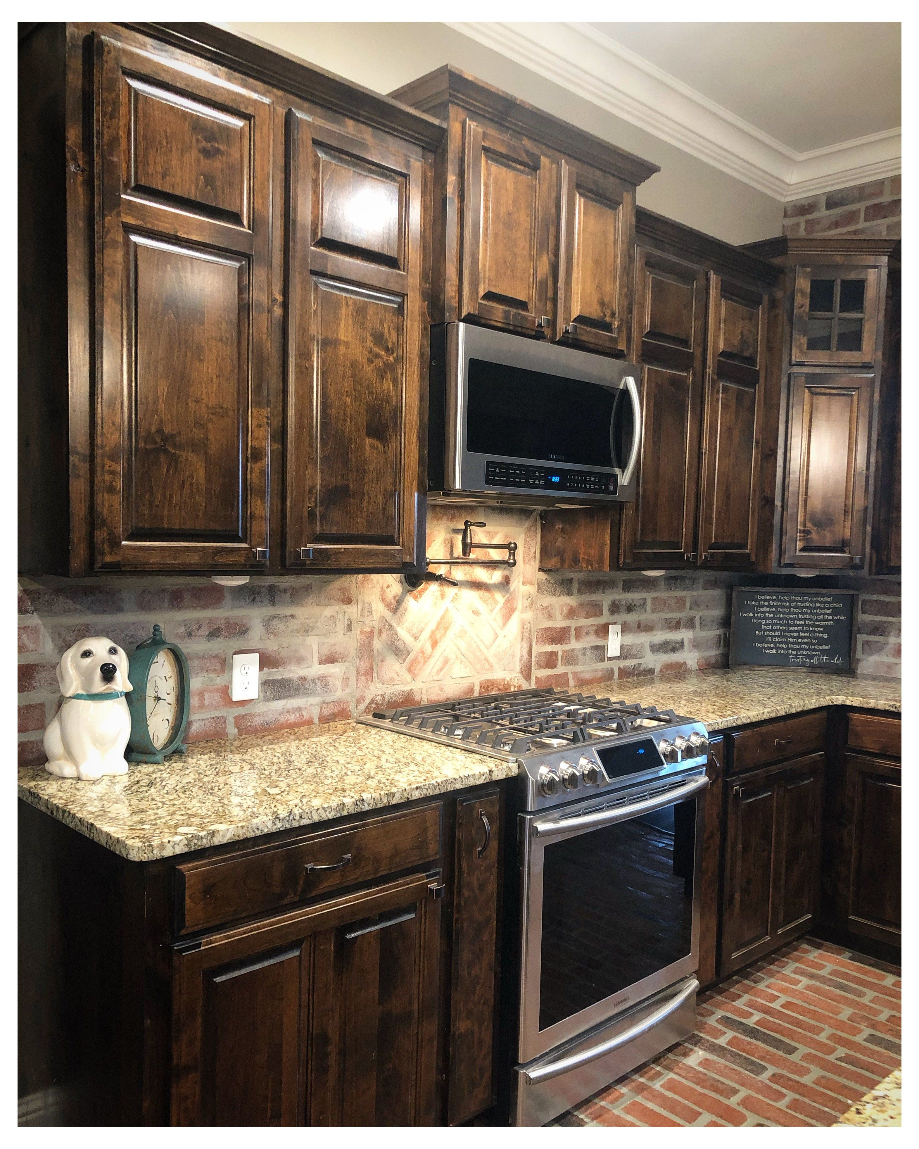 Pin By Leslie Bautista On Home Rennovations In 2020 Stained Kitchen Cabinets Dark Wood Kitchen Cabinets Backsplash Kitchen Dark Cabinets