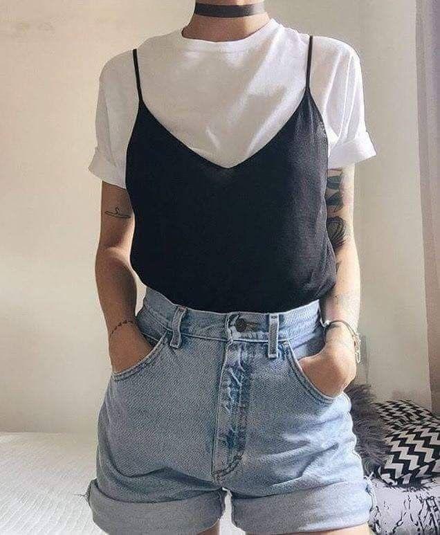 Look Anos 90 Blusa Branca E Preta Preposição Looks