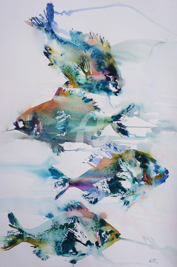 $557.15 · Painting, Watercolor by Olivia Quintin (France). Buy the original (76x56 cm) via #Artmajeur. #Painting #Watercolor #Figurative #Fish #Dorade #Grise #Bleu #OliviaQuintin #Aquarelle #Gyotaku #Poisson