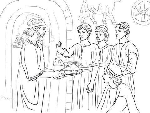 daniel makes good choices and refuses king's food coloring page ... - Bible Story Coloring Pages Daniel