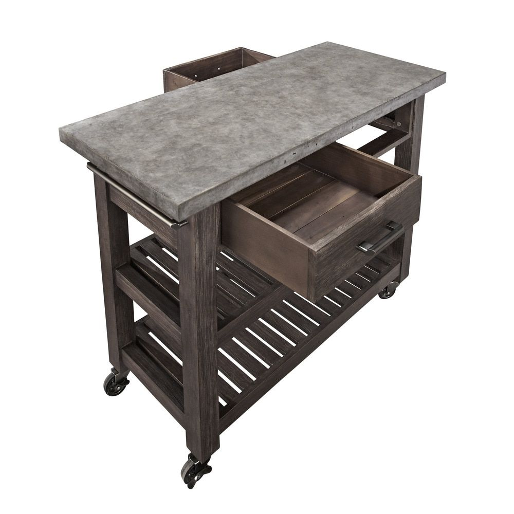 Concrete Chic Weathered Brown Kitchen Cart by Home Styles - Free ...