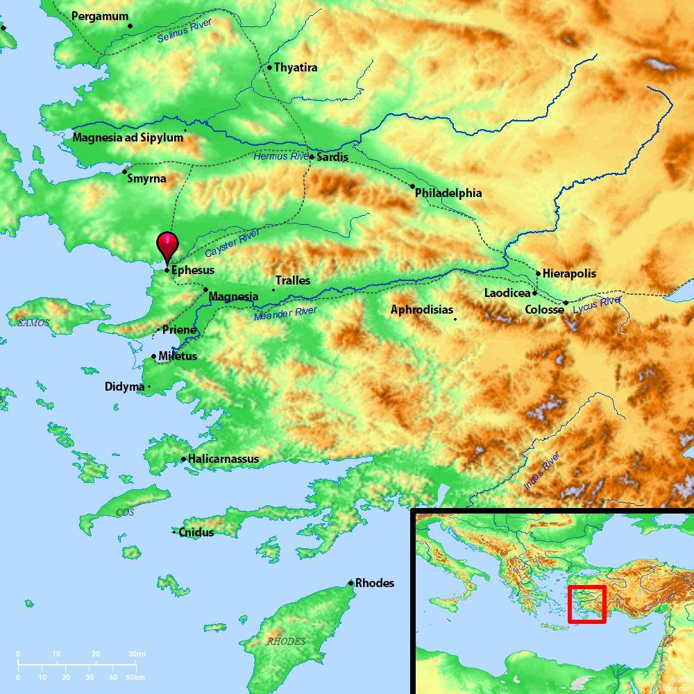 Map Of Ephesus Bible Bible Map Ephesus And Surrounding Region