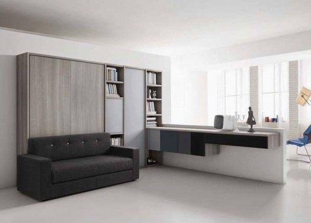 Mueble comedor cama abatible vertical matrimonio | Salones con camas ...