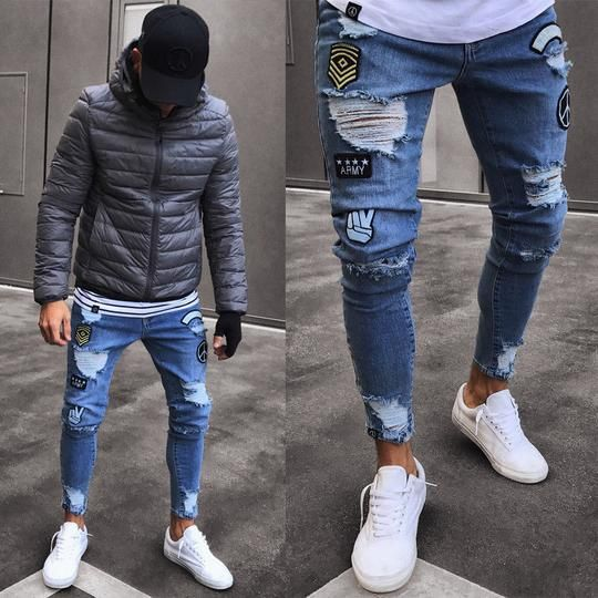 Men Stylish Ripped Jean Pants Biker Skinny Slim Straight Frayed Denim Trousers New Fashion Men Clothes is part of Skinny jeans men - Gender MenItem Type Full LengthStyle Hip HopLength Full LengthPant Style StraightDecoration HoleFabric Type DenimFront Style FlatWaist Type HighMaterial Polyester,CottonThickness MidweightFit Type RegularModel Number JeansClosure Type Zipper Fly