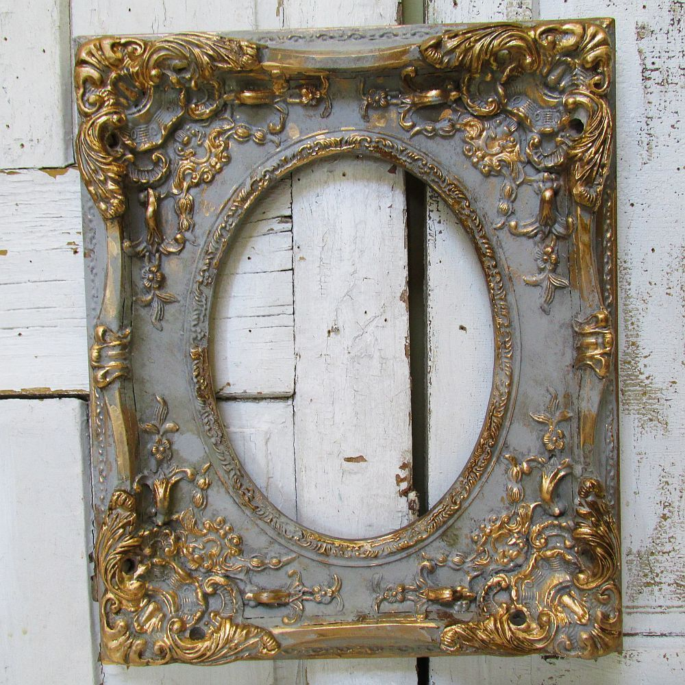 Large ornate picture frame wood w/ gesso antique French farmhouse ...
