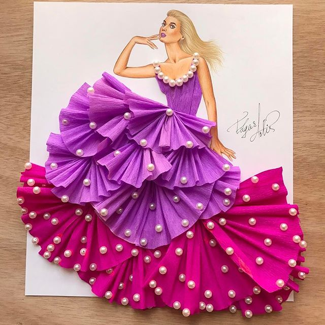 Lilac lady in pearls Made with crepe paper