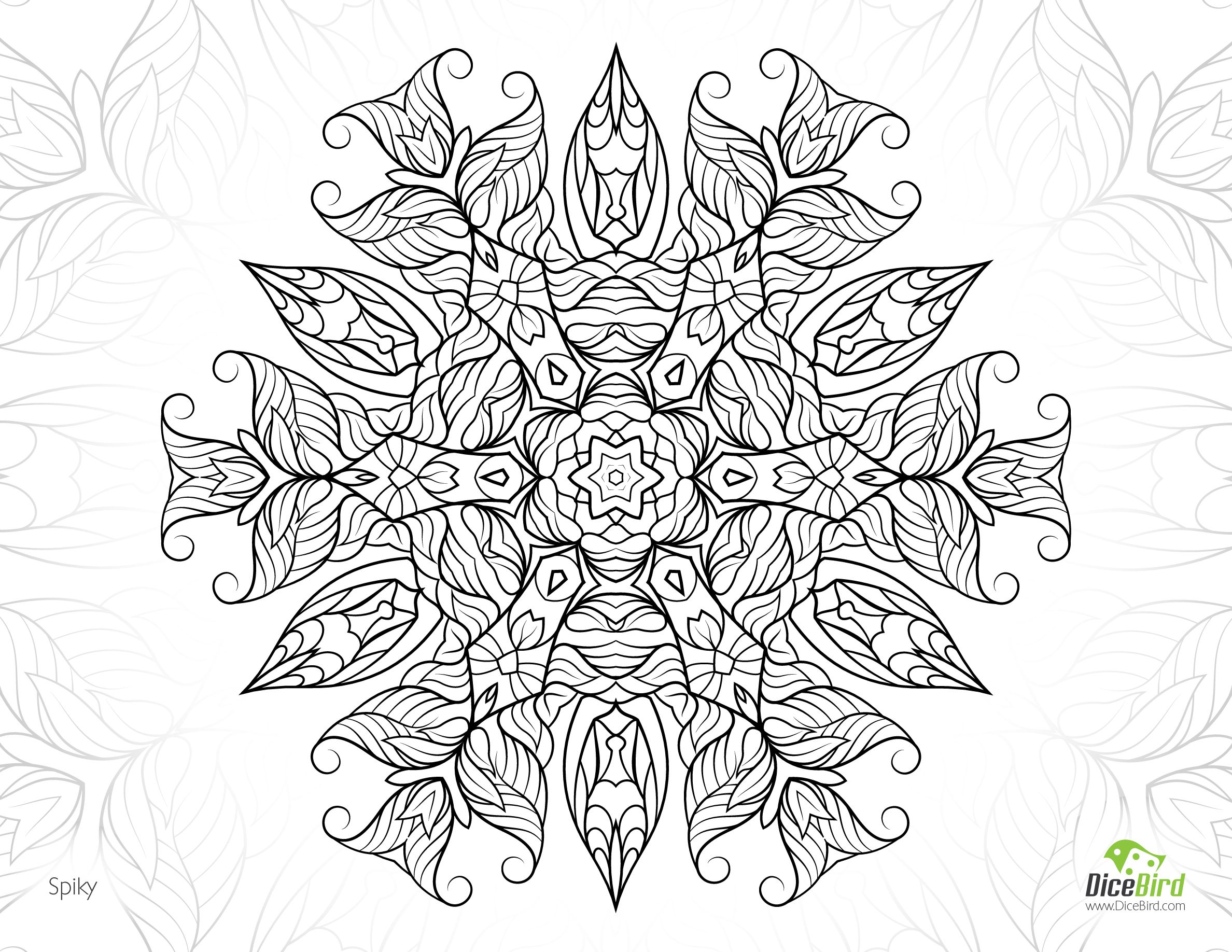 Spiky Jungle Flower Hard Coloring Pages For Adults Adult