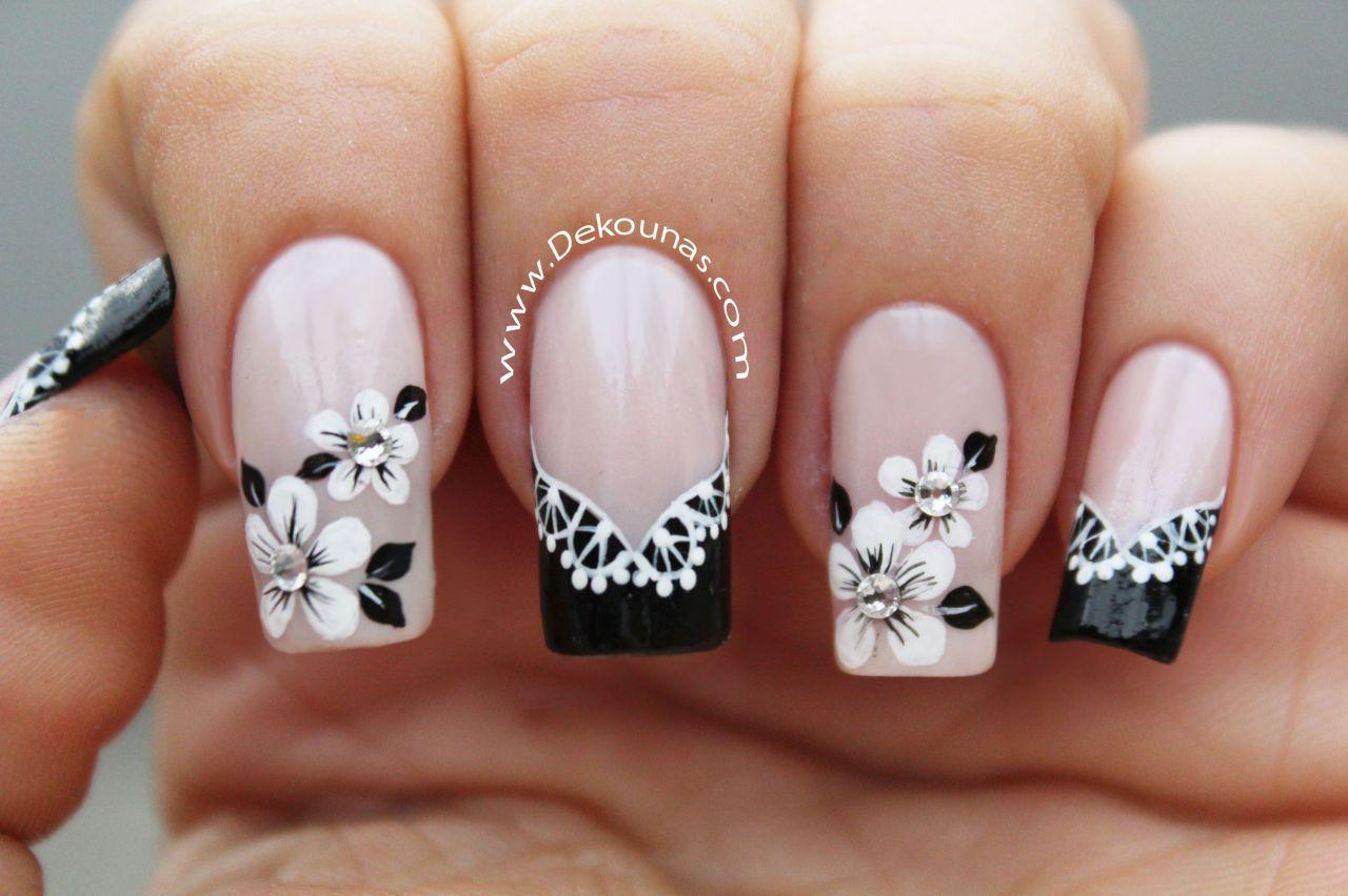 Decoraci n de u as flores y encaje facil odalys nails nail designs y nail arts - Decoracion facil de unas ...