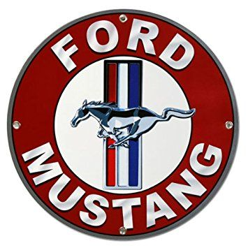 Ford Mustang Round Metal Sign ロゴデザイン カー デザイン