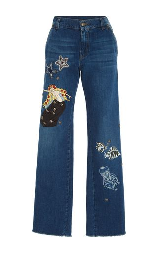 design patch jeans by red valentino for preorder on moda operandi