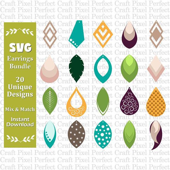 Blulu 15 Pieces Earring Cut Template Drop Model Teardrop Leaf Earring Cutting Dies for Making Leather Earring DIY Crafts
