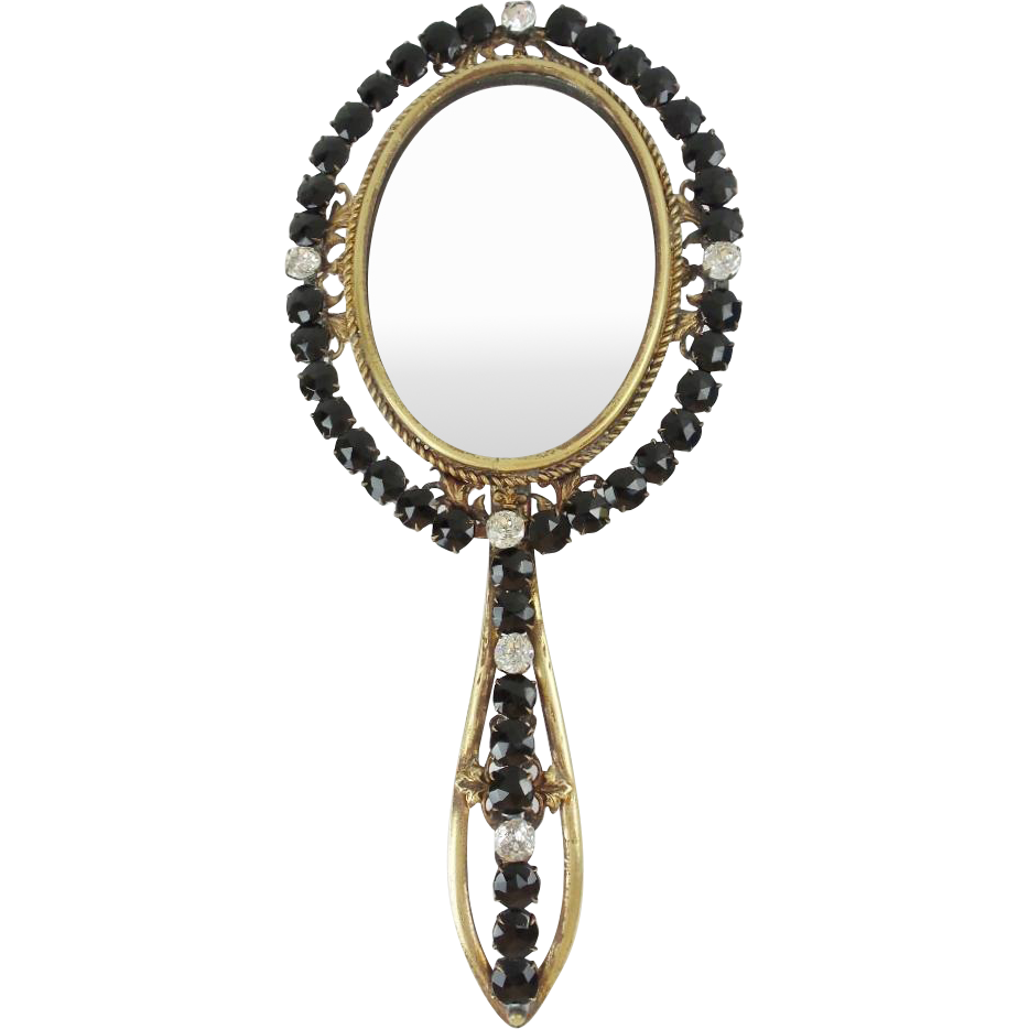 Grandest Antique French Jeweled Hand Mirror Jet Paste Gems From Worldrarities On Ruby Lane Hand Mirror Jewel Hands Mirror