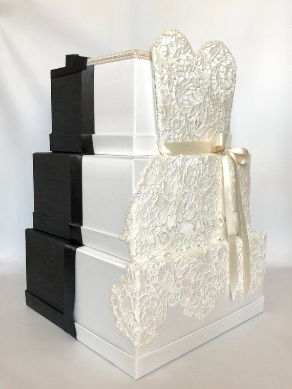 hers and his wedding card box with lock black and white
