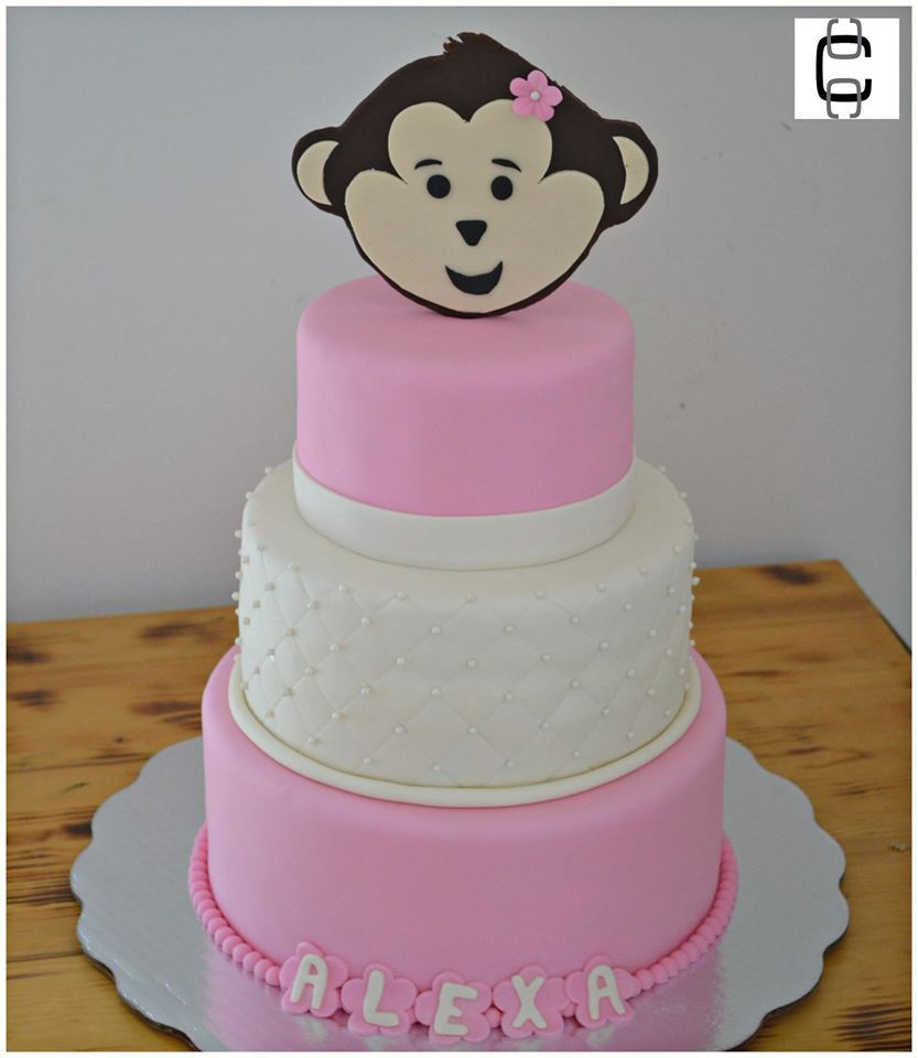 Girl Baby Shower Party Ideas / Girl Baby Shower Cake Ideas / Baby Monkey  Cake / Baby Shower Monkey Cake / Monkey Cake Ideas/ Pastel De Baby Shower  De Niña ...