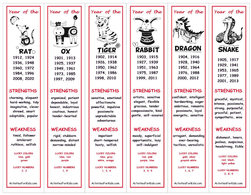 Http Activitiesforkids Com Chinese Zodiac Bookmarks Chinese New Year Crafts For Kids Chinese New Year Zodiac Chinese New Year Crafts