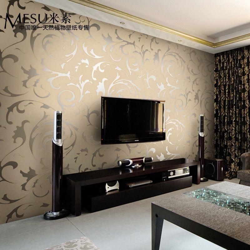Wall paper Gold wallpaper bedroom, Modern tv wall units