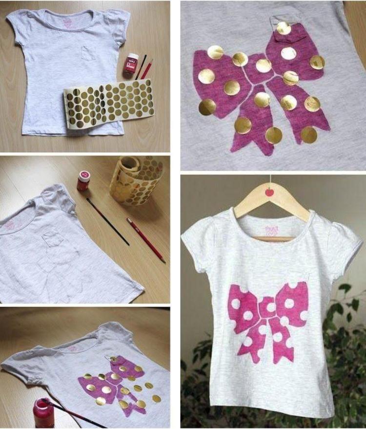 kinder t shirt mit pinkfarbener schleife und punktenmuster. Black Bedroom Furniture Sets. Home Design Ideas