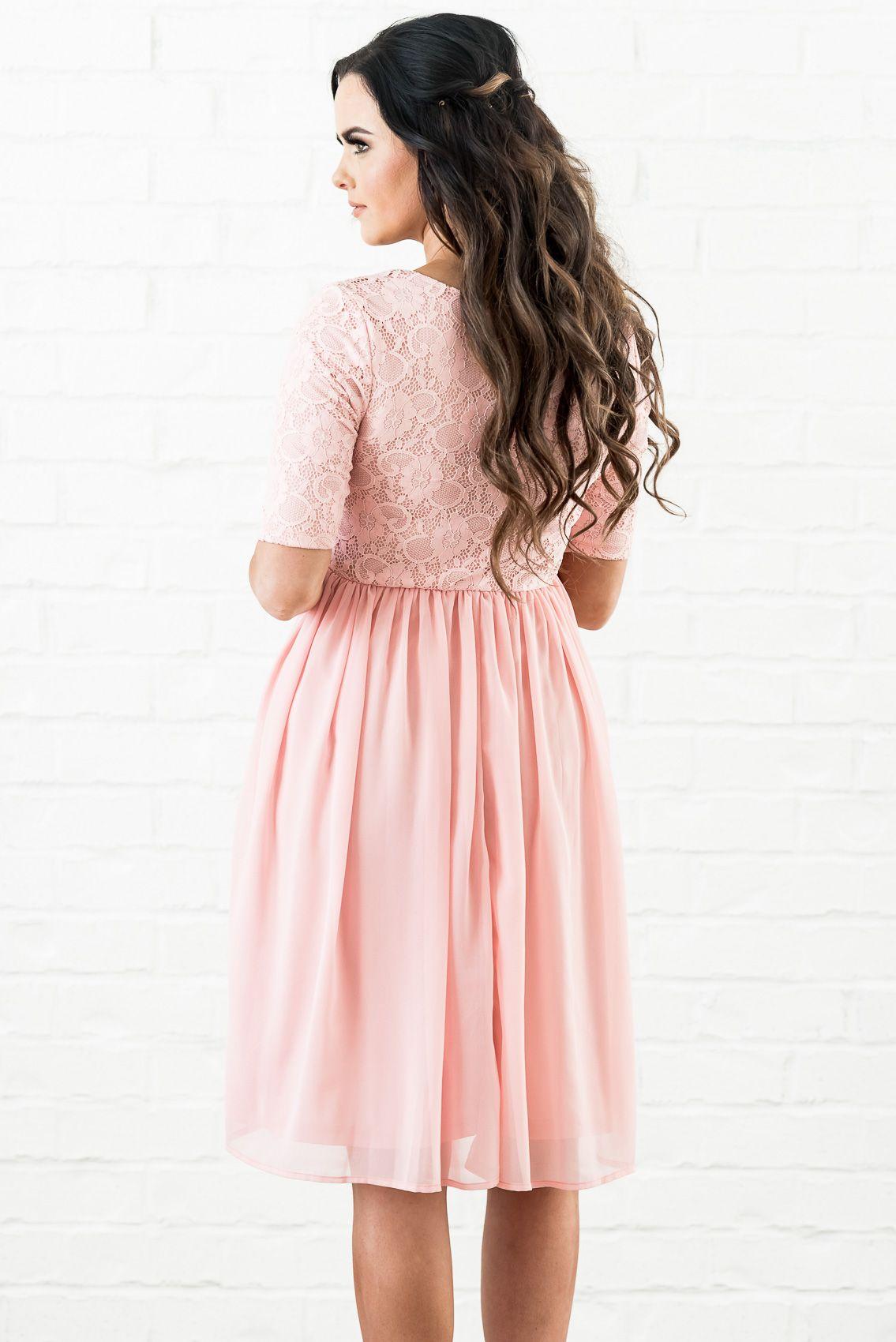 c74485f0e13 Erica (or Erika) Modest Dress or Bridesmaid Dress in Blush Pink Lace    Chiffon 59.99