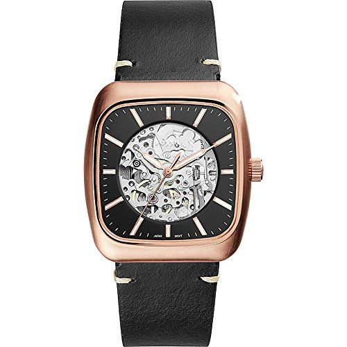 Fossil Ladies Rose Gold Tone Leather Strap Watch | H.Samuel