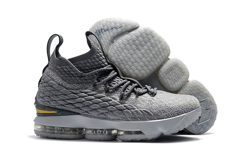 "2018 Nike LeBron 15 ""City Edition"" Wolf Grey Metallic Gold-Cool Grey ... bb6c77a470"
