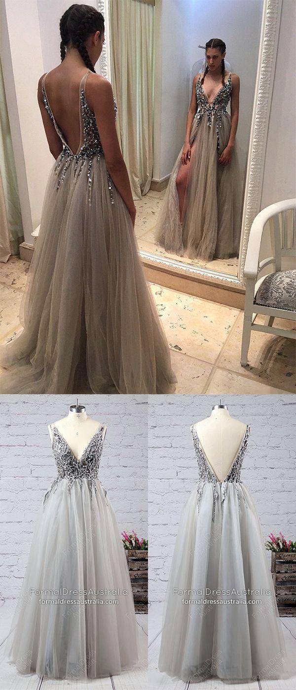 Long formal dresses grey vneck prom dresses with slit princess