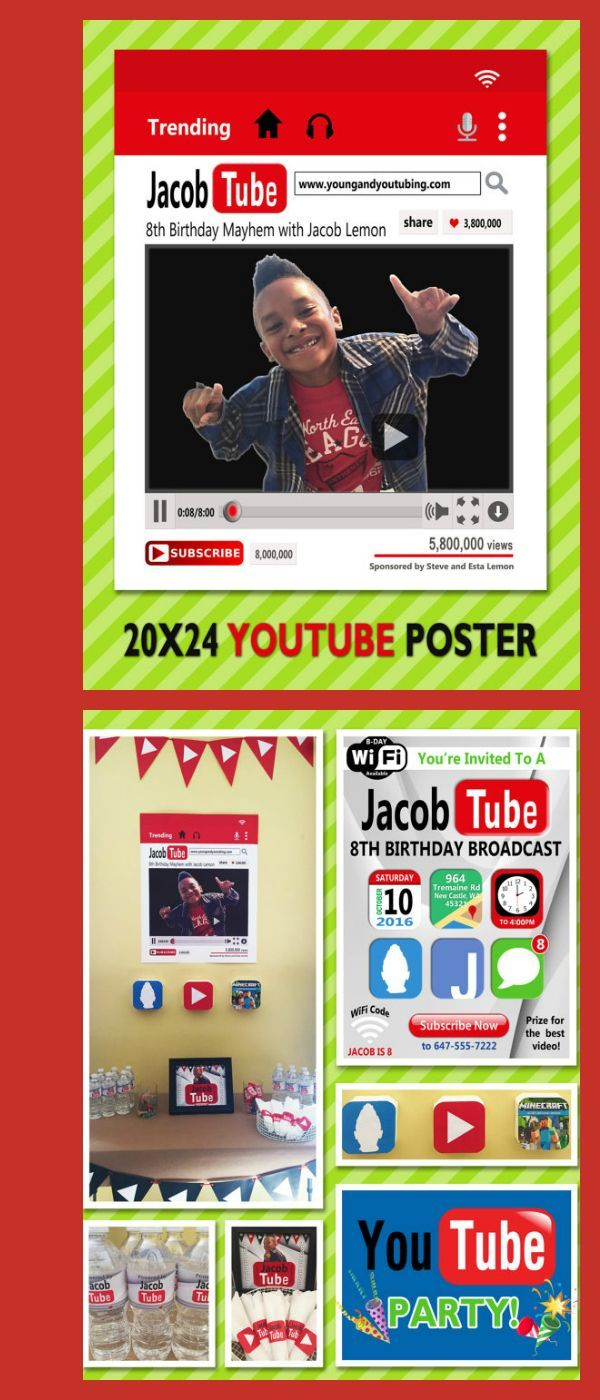 youtube theme party set youtubers birthday party set printable and printing available pdf