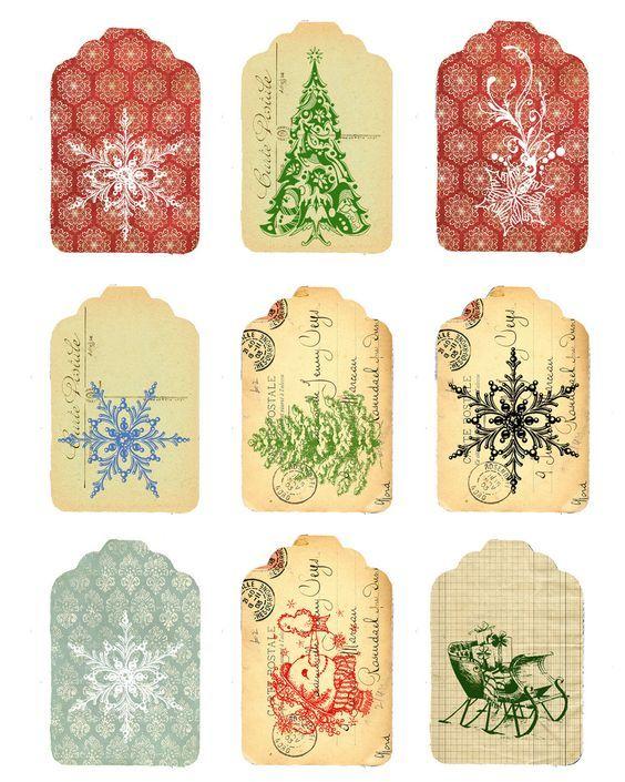 Free printables vintage label and tags no l et f tes deco pinterest paquet cadeau paquet - Paquet jardin deco noel nancy ...