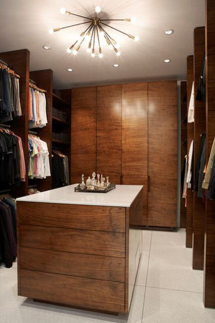 | P | Stylish masculine closet in walnut with mid-century modern chandelier