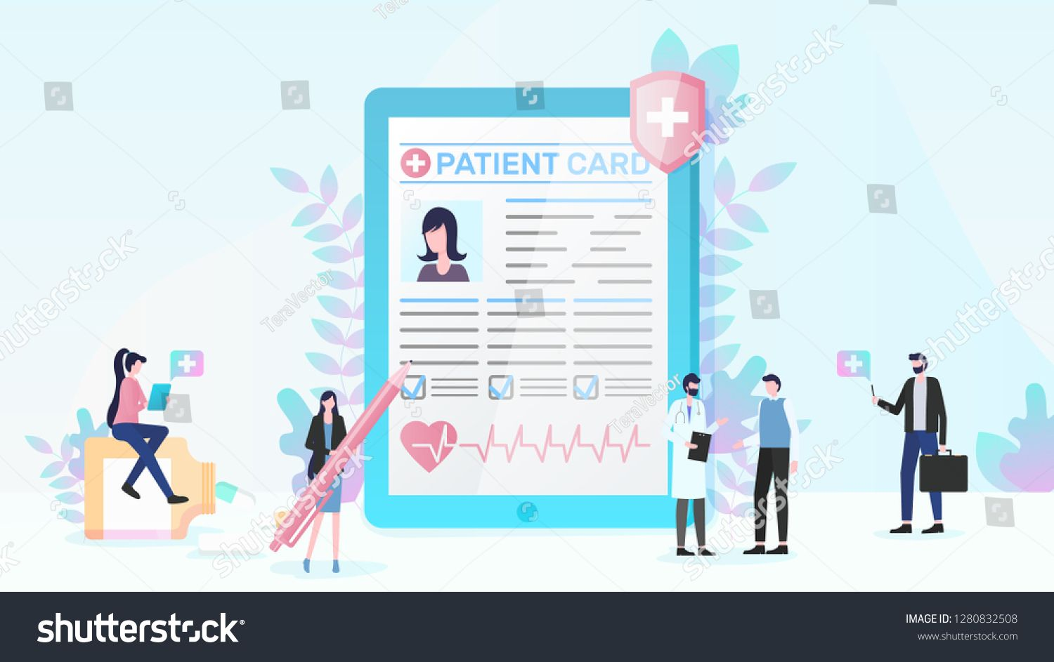 Healthcare flat vector concept with people using online